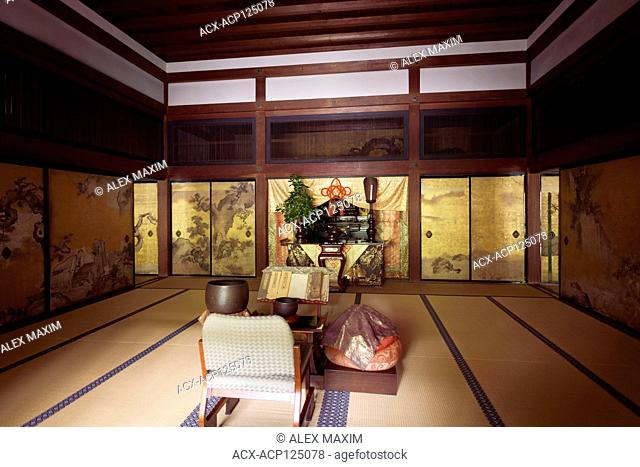 Altar at a place of worship inside the main hall of Konchi-in historic Buddhist temple, Nanzen-ji complex in Sakyo-ku, Kyoto, Japan 2017