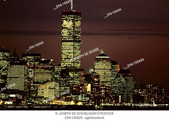 A pre 9-11 view of the New York City Financial District of Manhattan view from New Jersey at night  New York City  USA The World Trade Center, the Twin Towers