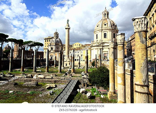 Trajan's Column and the Church of the Most Holy Name of Mary at the Trajan Forum - Rome, Italy