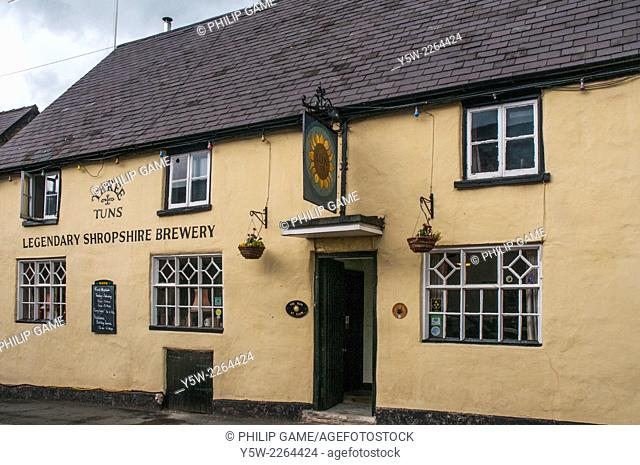 Historic brewery pub in Clun, Shropshire, England