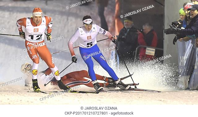 From left Torjus Borsheim from Norway (falling), Lasse Paakkonen from Finland and Czech cross-country skier Ondrej Dudek in action during the CEZ City Cross...