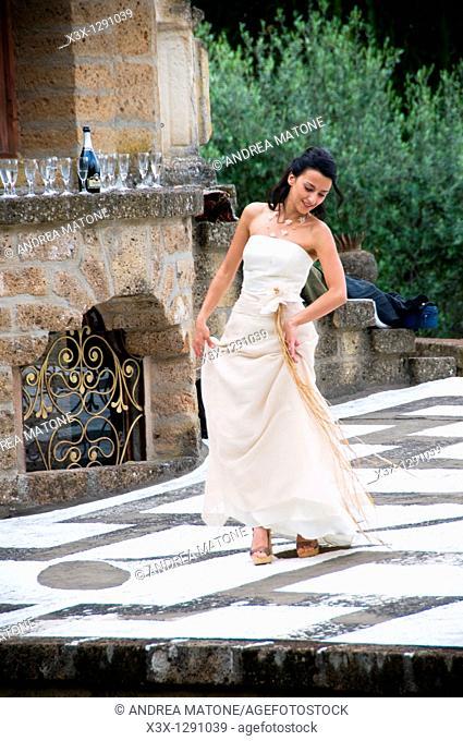 Wedding bride dancing and celebrating