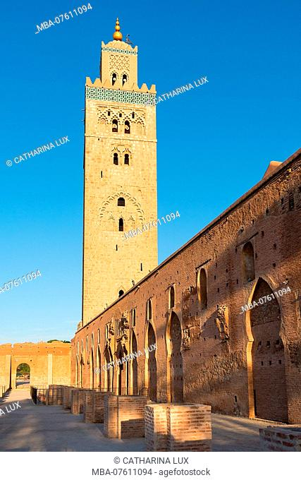 Morocco, Marrakech, Koutoubia Mosque, Evening Light