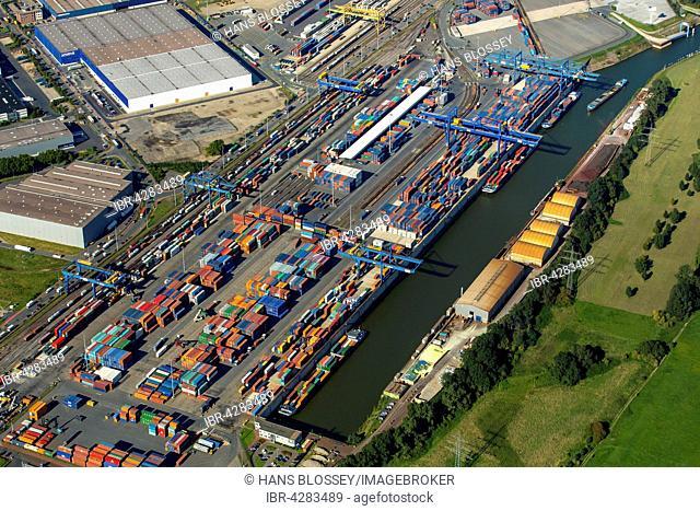 Logport I Duisport, logistics center Rheinhausen, Duisburg, Ruhr district, North Rhine-Westphalia, Germany