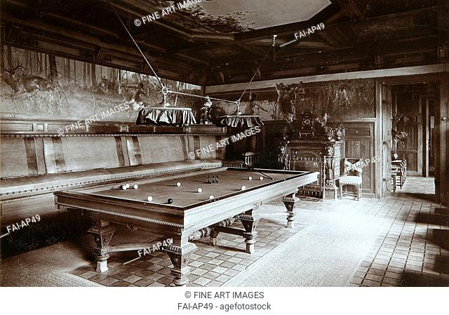 The billiard room in the Emperor palace in the Bialowieza Park. Photo studio I. Mechkovsky . Silver Gelatin Photography. 1894