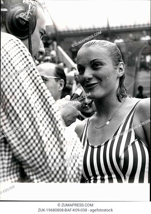 Aug. 08, 1968 - Claude Mandonnaud: Olympic Hope: Claude Mandonnaud, One Of The French Top Girl Swimmers, Has Revived The French Hope For Olympic Medals In The...