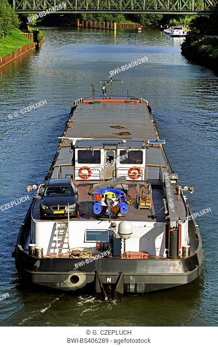 transport ship on Rhine-Herne Canal, Germany, North Rhine-Westphalia, Ruhr Area, Essen