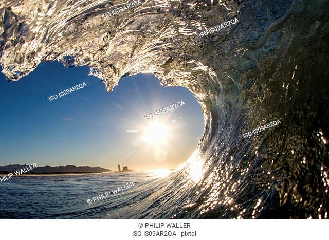 Barrelling wave, close-up, Hawaii