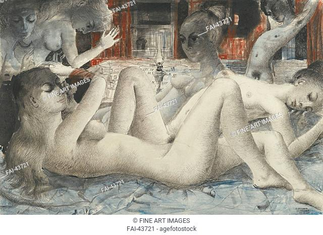 The demons of the night (Les démons de la nuit) by Delvaux, Paul (1897-1994)/Watercolour and ink on paper/Surrealism/1968/France/Private...