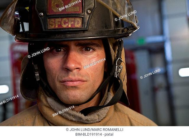 Close up of Hispanic fireman