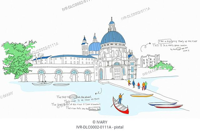 Illustration of a famous place and tourists