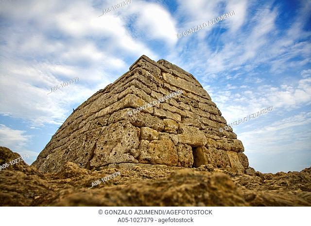 Construction prehistoric burial. Naveta des Tudon.1200-750 before Christ. Minorca. Balearic Islands. Spain