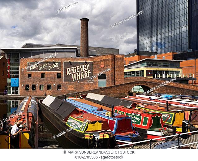 Narrowboats on the Birmingham Canal at Gas Street Basin Birmingham West Midlands England