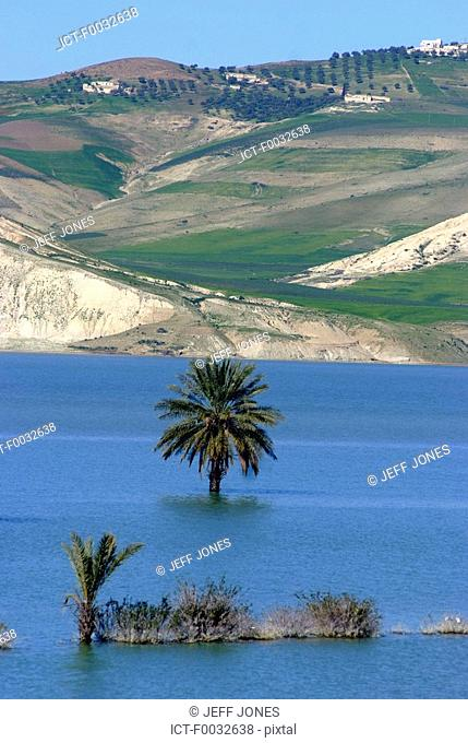 Morocco, on the road to Fes, artificial lake