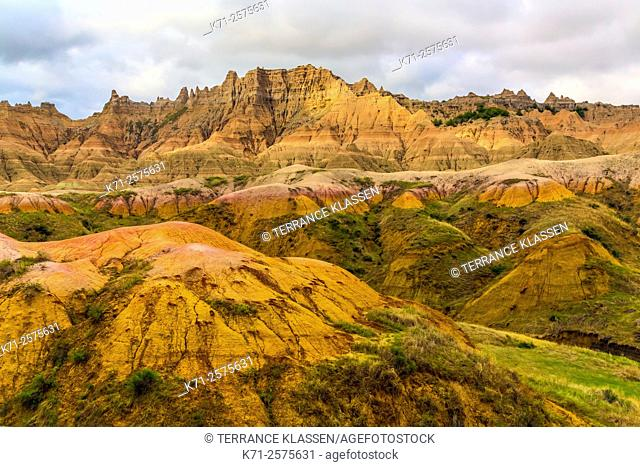 A view of the rugged landscape in the Badlands National Park near Wall, South Dakota, USA