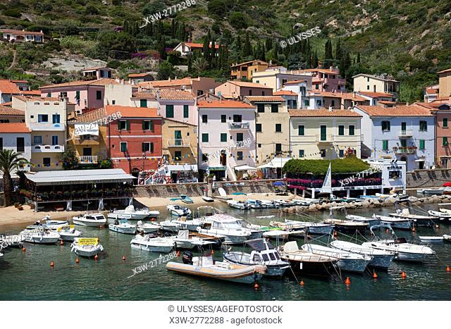 Giglio village and port, Giglio Island, Tuscan archipelago, Tuscany, Italy, Europe
