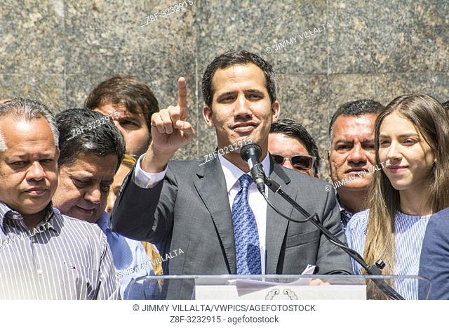 Interim President of Venezuela, Juan Guaidó, accompanied by his wife and deputies of the National Assembly in the press conference held in the Plaza Bolívar de...