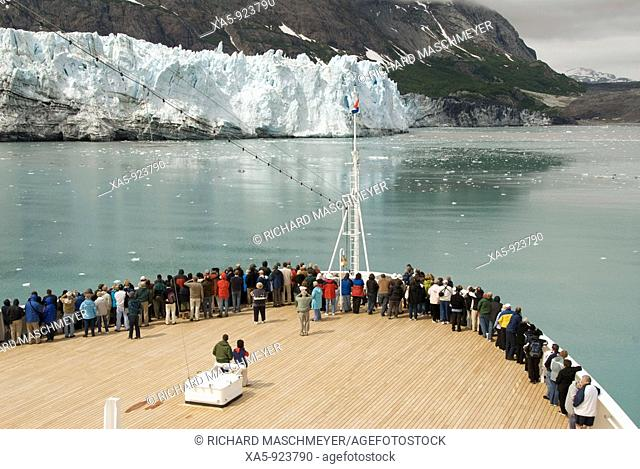 Passengers on cruise ship viewing the glaciers, Prince William Sound, Inside Passage, Alaska, USA