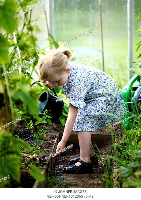 A girl watering plants