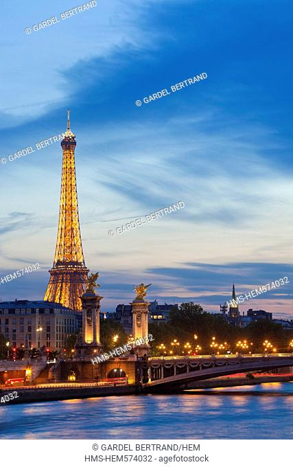 France, Paris, Seine river banks listed as World Heritage by UNESCO, the Pont Alexandre III and Eiffel Tower  SETE illuminations Pierre Bideau