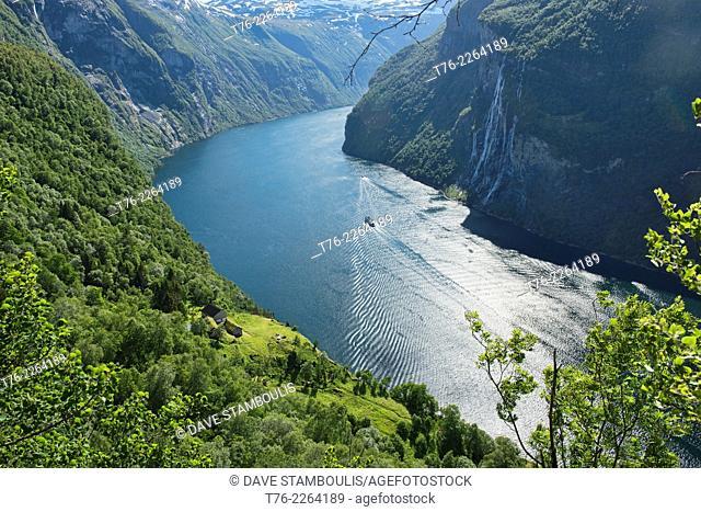 The Skagefla farm in Geirangerfjord, Norway