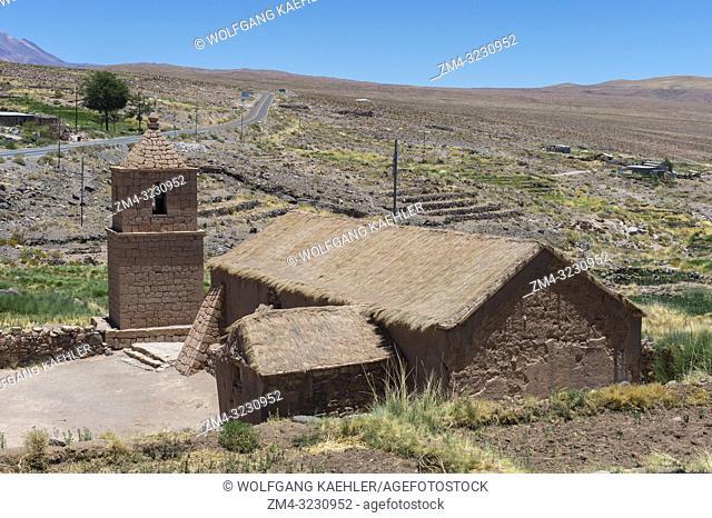400 year old church at Socaire village near San Pedro de Atacama in the Atacama Desert, northern Chile