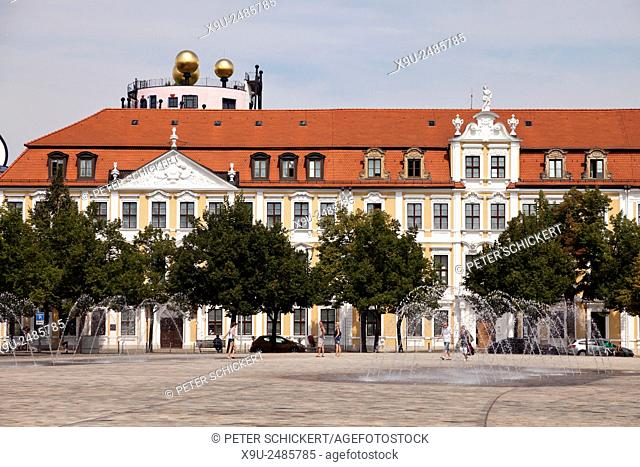 Domplatz Cathedral square and the Landtag, seat of the government of Saxony-Anhalt, Magdeburg, Saxony- Anhalt, Germany