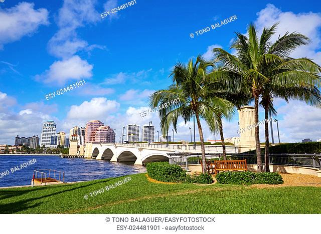 Palm Beach skyline royal Park bridge in Florida USA