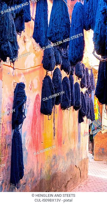 Dyed cotton hung out to dry, Marrakech, Morocco