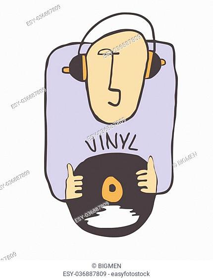 Cartoon funny DJ illustration with LP and headphone