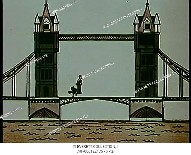 Wide shot bird running across London bridge