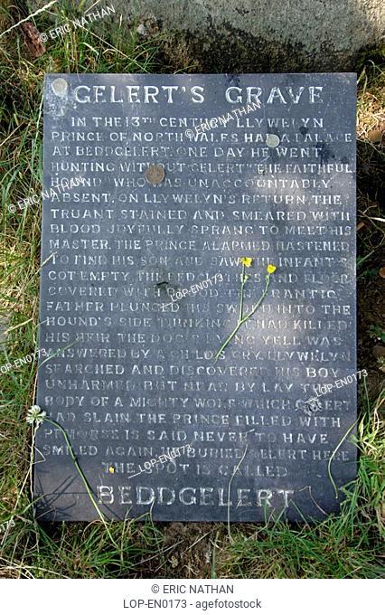 Wales, Snowdonia, Beddgelert, Gelert's grave near Beddgelert in Wales in the UK. Gelert is the name of a legendary dog that belonged to Llywelyn the Great