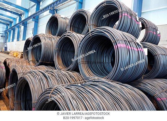 Steel wire rolls, Siderurgical products, Port warehouse, Pasajes Port, Gipuzkoa, Basque Country, Spain