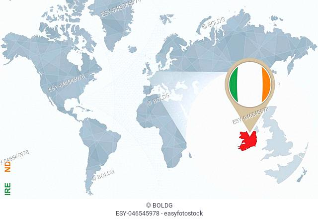 Abstract blue world map with magnified Ireland. Ireland flag and map. Vector Illustration