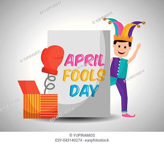 joker waving with prank box glove surprise april fools day vector illustration