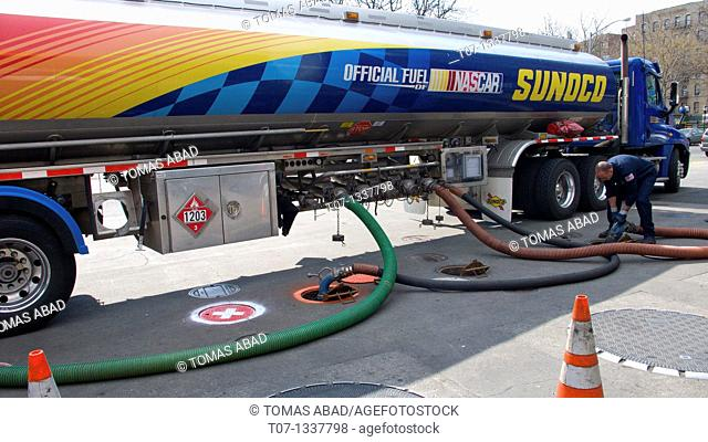 Gasoline truck, pumping into Gas Station reserves, The Bronx, New York City