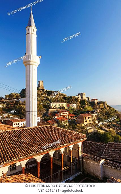 Bazaar mosque with castle and Skanderbeg museum in background. Kruja, Albania