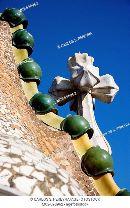 Detail of Casa Batllo by Gaudi, Barcelona. Catalonia, Spain