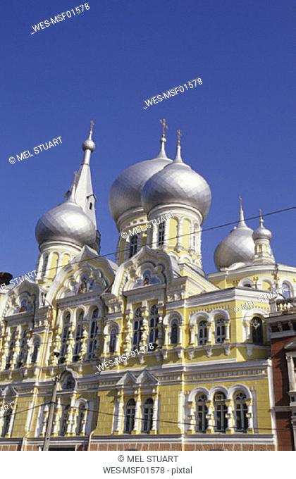 Odessa, onion spires of Pantelejmonos Church, Ukraine