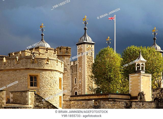 British flag flies over the Tower of London, London England, UK