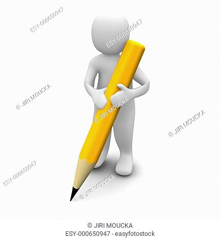 Man holding pencil