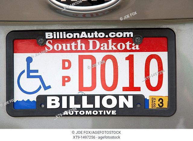 south dakota disabled vehicle license plate state usa