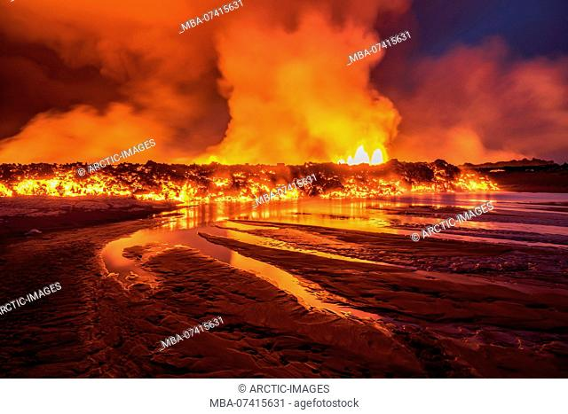 Glowing lava from the eruption at the Holuhraun Fissure, near the Bardarbunga Volcano, Iceland. August 29, 2014, a fissure eruption started in Holuhraun at the...