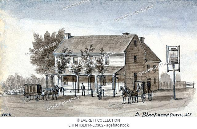 A tavern with horse-drawn carriages at Blackwoodtown, N.J. Watercolor by Augustus Kollner. 1851