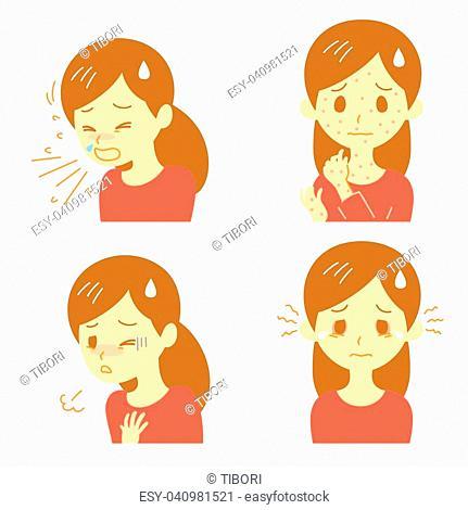 allergic reactions, allergic symptoms, vector file