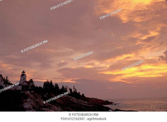 sunrise, sunset, lighthouse, Maine, Pemaquid Point, Bristol, ME, Pemaquid Head Light at sunrise along the rocky coastline of the Atlantic Ocean