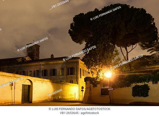 Istituto Nazionale Di Studi Romani with S. Alessio belfry in background. Aventino. Piazza dei Cavalieri di Malta 2, Rome, Italy