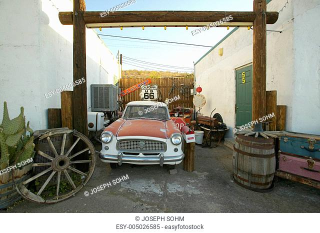 Historic vintage roadside motel on old Route 66 welcomes old cars and guests in Barstow California