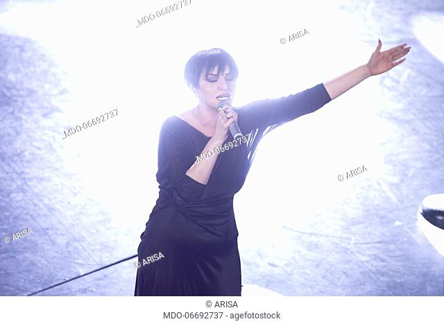 Italian singer Arisa (Rosalba Pippa) during the fifth and last evening of the 69th Sanremo Music Festival. Sanremo (Italy), February 9th, 2019