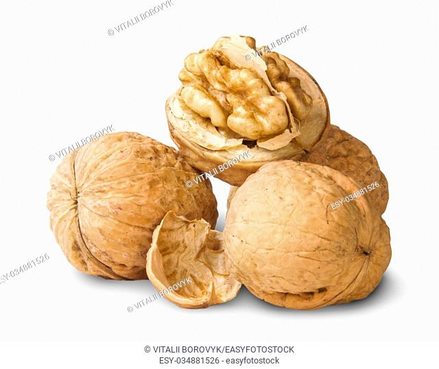 Small Pile Of Walnuts And Shells Isolated On White Background